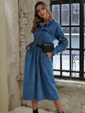 Stringy Selvedge Detail Long Sleeve Denim Dress