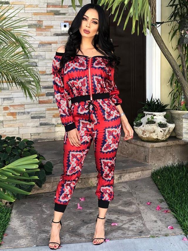 Printed Design Off Shoulder Women Suit Set