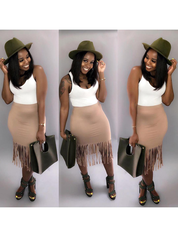 Solid Skinny Tassel Skirts For Women