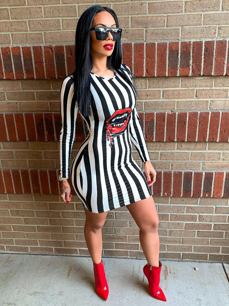 Sexy Striped Lip Printed Long Sleeve Bodycon Dress