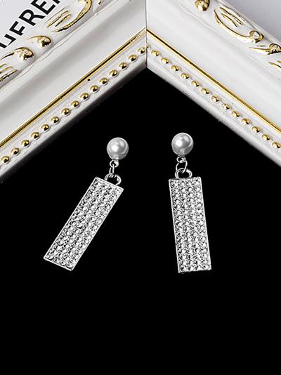 Rhinestone Dangle Geometric Square Faux Pearl Earrings