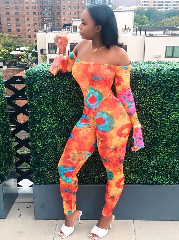 Backless Off Shoulder Printed Skinny Jumpsuit For Women