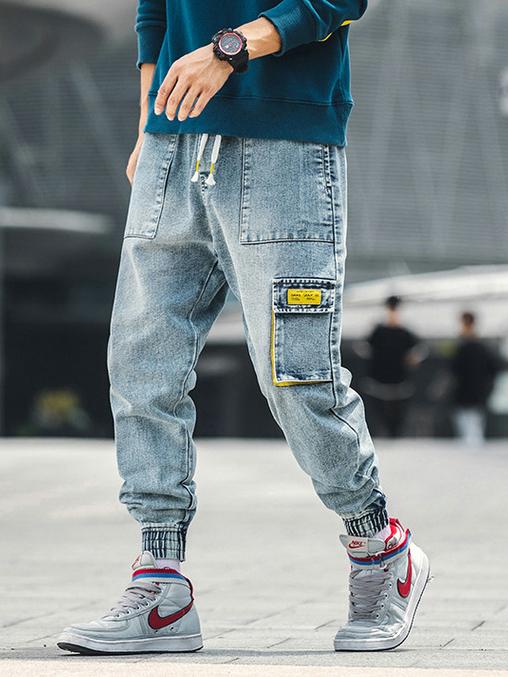Fashion Drawstring Cargo Mens Jeans