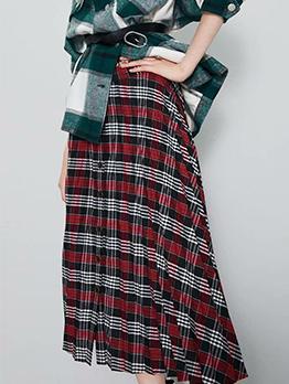 Vintage Plaid Midi Pleated Skirt