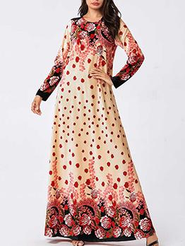 Vintage Flowers Printed Muslim Plus Size Maxi Dresses