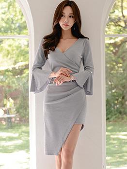 Solid V Neck Flare Sleeve Irregular Hem Ladies Dress