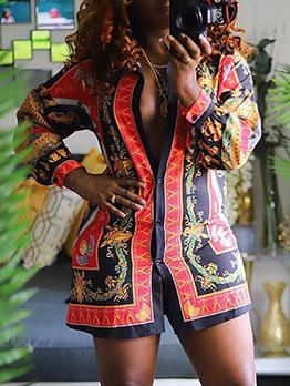 Ethnic Style Trundown Collar Printed Shirt Dress