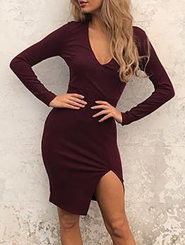 V Neck Solid Split Long Sleeve Dress