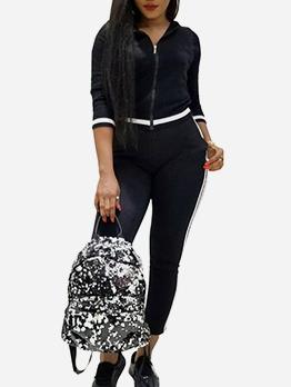 Sport Three Quarter Sleeve Black Women's Activewear