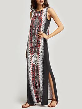 National Style Printed Split Sleeveless Maxi Dress