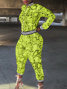Snake Printed Long Sleeve Ladies Trouser Suits