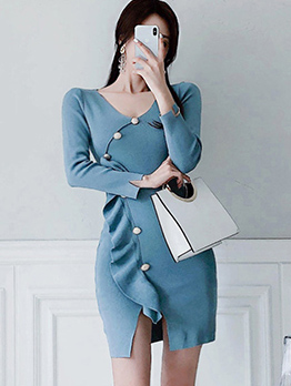 Solid Color Button Decor Knitting Long Sleeve Dress