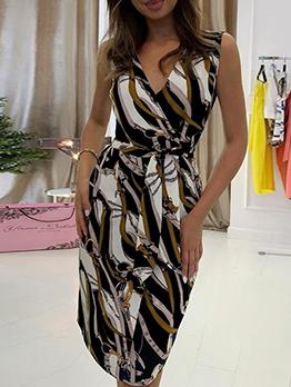 Casual V Neck Printed Sleeveless Dress