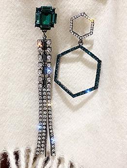 Asymmetric Rhinestone Long Tassels Earring