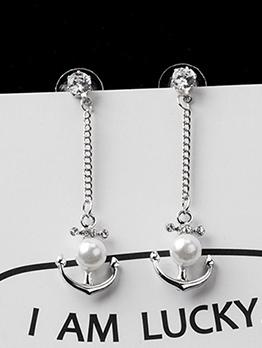 Stylish Rhinestone Pearl Anchor Drop Earring