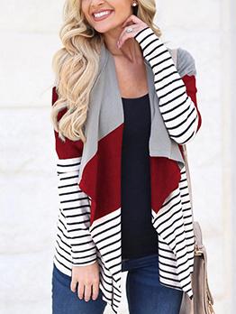 Irregular Colorblock Striped Short Coat