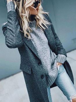 Lapel Collar Solid Woolen Long Blazer Coat