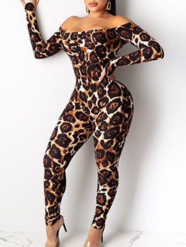 Boat Neck Leopard Printed Long Sleeve Jumpsuit