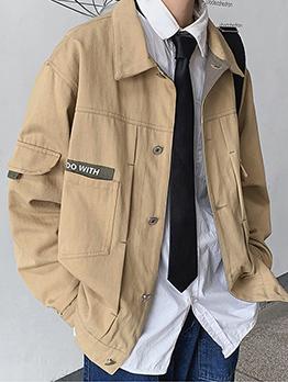 Japanese Style Turndown Collar Cargo Mens Jacket