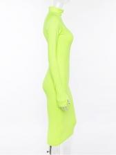 Stand Collar Zipper Long Sleeve Bodycon Dresses