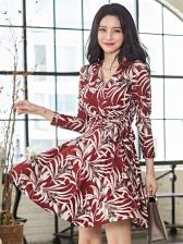 V Neck Tie-Wrap Leaves Printing Long Sleeve Dress