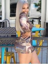 Sexy Printed Long Sleeve Bodycon Dress