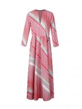 Casual Notch Collar Contrast Color Striped Maxi Dresses