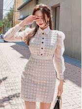 Gauze Patchwork Plaid Long Sleeve Short Dress