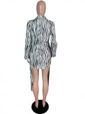 Classic Irregular Striped Shirt Dress