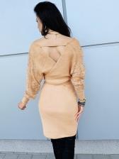V Neck Tie-Wrap Patchwork Lace Sleeve Ladies Dress
