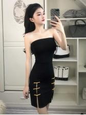 Vintage Style Split Hem Strapless Mini Dress