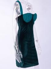 Euro Patchwork Velvet Off Shoulder Blackish Green Dresses