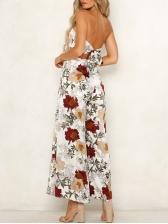 Strapless Floral Wide Leg Jumpsuit For Women
