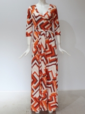 Color Block Tie-Wrap Vacation Style Maxi Dresses