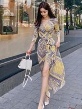 V Neck Tie-Wrap Contrast Color Printed Maxi Dresses
