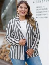 Loose Striped Plus Size Ladies Blazer
