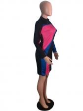 Fashion Contrast Color Long Sleeve Bodycon Dress