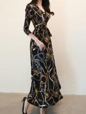 Three Quarter Sleeve Chain Printed Maxi Dresses