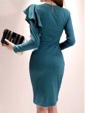 Solid Ruffles Detail Smart Waist Long Sleeve Dress