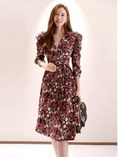 V Neck Three Quarter Sleeve Floral Ladies Dress