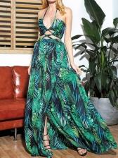 Bohemia Halter Printed Bandage Long Dress