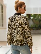 Leopard Printed Bow Neck Lantern Sleeve Blouse