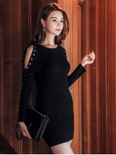 OL Style One Shoulder Striped Long Sleeve Dress