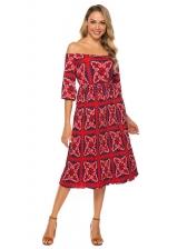 Boat Neck Color Block Print Half Sleeve Summer Dresses