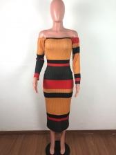 Fashion Off Shoulder Contrast Color Maxi Dresses