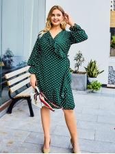 V Neck Polka Dot Plus Size Dresses