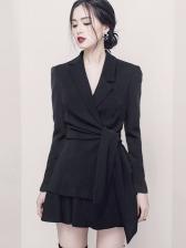 Elegant Front Tie Design Blazer 2 Piece Outfits