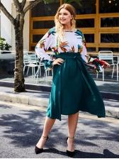 Fashion Printed Long Sleeve Plus Size Dresses