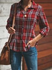 Turndown Neck Plaid Long Sleeve Shirt