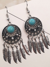 Ethnic Dreamnet Hollow Feather Fringes Earring